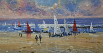 Richard Blowey Original Oil Painting Mounts Bay Sailing Club Cornwall